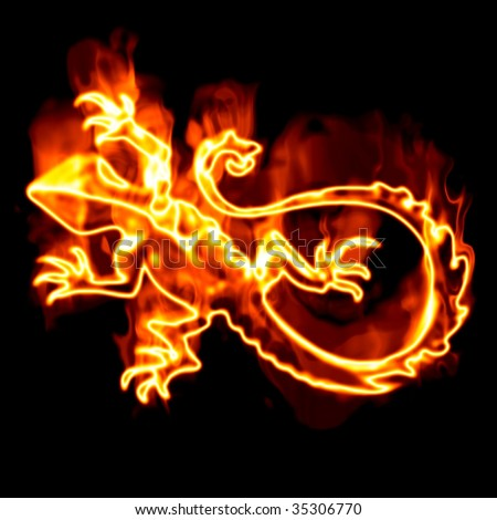Lizard surrounded by fire on a white background