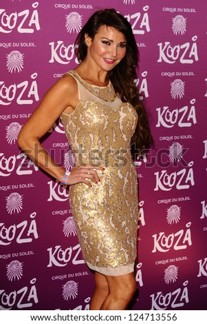 """Lizzie Cundy arrives for the Cirque du Soleil """"Kooza"""" VIP performance at the Royal Albert Hall, London. 08/01/2013.  Picture by: Steve Vas"""