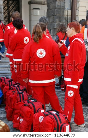 LJUBLJANA, SLOVENIA - SEPTEMBER 15: Teams ready for instructive exercise on World First Aid Day. Association of the Red Cross and the Municipality of Ljubljana. September 15, 2012, in Ljubljana, SI.