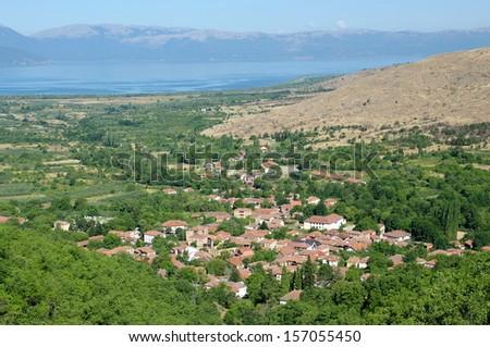 Ljubojno village on backgroud Lake Prespa, Republic of Macedonia