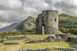 Llanberis, Wales, Britain - July 30, 2014: 13th century Dolbadarn Castle, travel holidays.