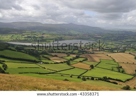 Llangorse Lake viewed from Mynydd Llangorse, Llangors, Brecon Beacons, Powys, Wales