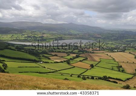 Llangorse Lake viewed from Mynydd Llangorse, Llangors, Brecon Beacons, Powys, Wales