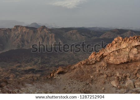 Llano de Ucanca - valley with lava fields and volcanic mountains of Teide National Park Tenerife Canary Islands Spain. Elevated view from Mount Teide. #1287252904