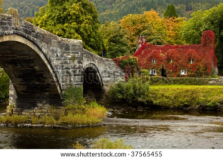 Llanrwst  bridge and court house covered in red ivy