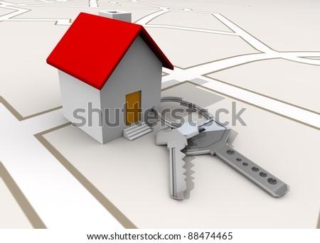 llavero y casa cerca - stock photo