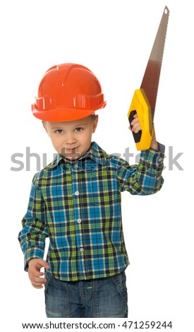 a51628949ab Llittle boy in a hard hat holding a saw - Isolated on white background   471259244 · Sitting child in hardhat with tools.