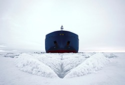 LNG carrier is breaking ice in the far north