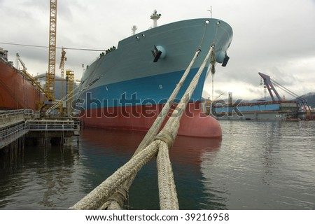 LNG carrier ship designed for transporting natural gas anchored