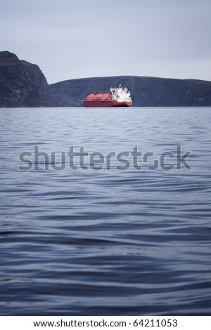 LNG ship in the norwegian fjords