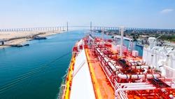 LNG vessel crossing suez canal