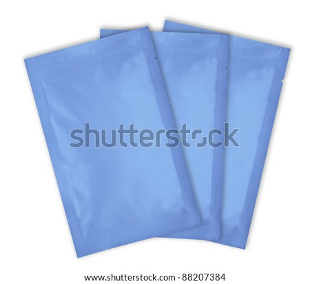 loaded blue aluminum foil bag package with fine cut and work path