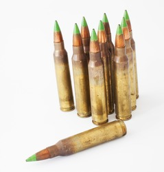 Loaded cartridges that have bullets with green tips