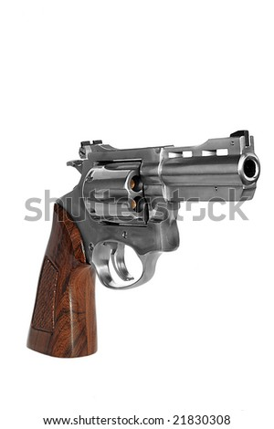 Loaded steel revolver caliber 38 isolated on white background