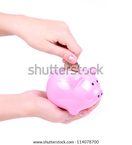 loading a piggy bank isolated on white, saving money
