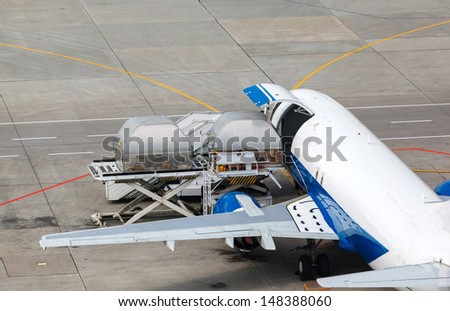 loading and unloading of containers in the cargo aircraft with platform