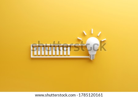 Loading bar almost complete with idea beeing processed on a light bulb on yellow background. 3d render. Сток-фото ©