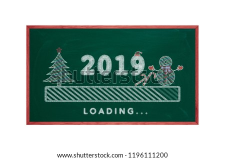 Loading bar 2019 green chalkboard with christmas tree, snowman and candy cane, happy new year #1196111200