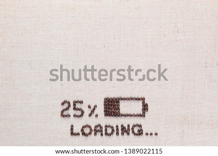 Loading bar with 25 percent progress isolated on linea canvas, shot top view, aligned bottom center. #1389022115