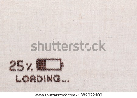 Loading bar with 25 percent progress isolated on linea canvas, shot top view, aligned bottom left. #1389022100