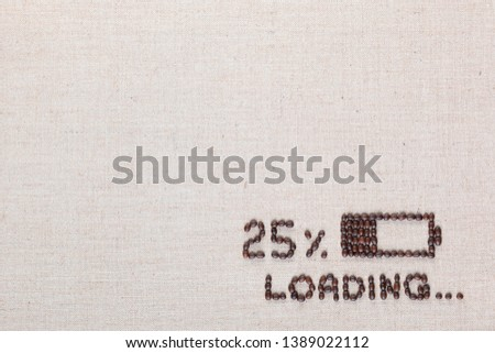 Loading bar with 25 percent progress isolated on linea canvas, shot top view, aligned bottom right. #1389022112