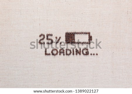 Loading bar with 25 percent progress isolated on linea canvas, shot top view, aligned in center. #1389022127