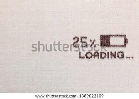 Loading bar with 25 percent progress isolated on linea canvas, shot top view, aligned middle right. #1389022109