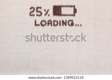 Loading bar with 25 percent progress isolated on linea canvas, shot top view, aligned top center. #1389022118