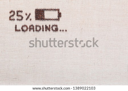 Loading bar with 25 percent progress isolated on linea canvas, shot top view, aligned top left. #1389022103