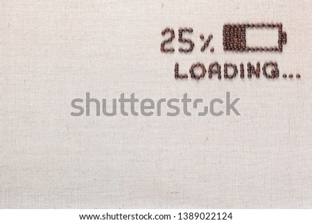 Loading bar with 25 percent progress isolated on linea canvas, shot top view, aligned top right. #1389022124