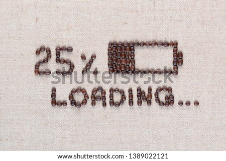 Loading bar with 25 percent progress isolated on linea canvas, shot top view, close up. #1389022121