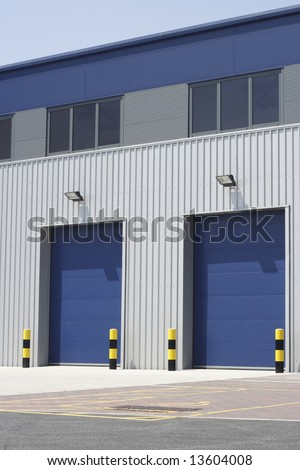 Loading bays of an industrial building unit or warehouse.
