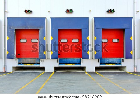 Loading dock cargo doors at big warehouse