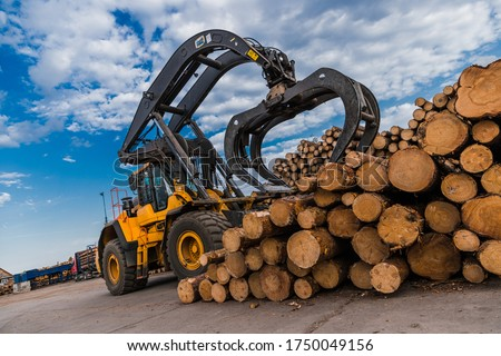 Loading equipment for logging. Log loader for timber, logs. Log loader moves stack of pine logs. Lumber industry. Woodworking factory. Firewood cut tree trunk logs stacked prepared. ストックフォト ©