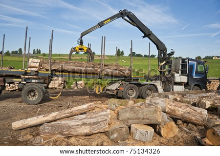 loading firewood with the truck crane