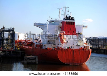 loading of chemical tanker in the port