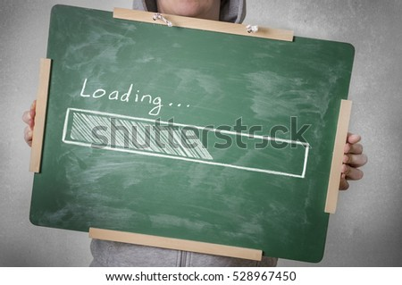 Loading progress bar on chalkboard #528967450