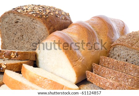 loaf and slices of whole rye bread, white long loaf,   isolated on white background