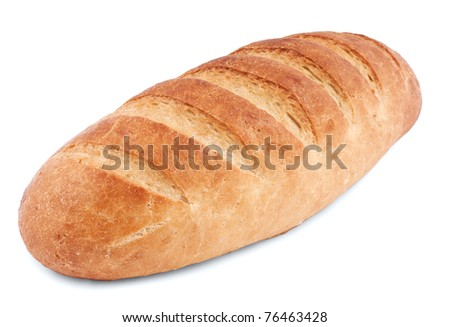 Loaf  bread isolated on white