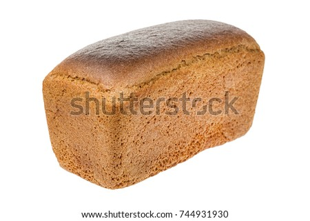 Loaf of black bread from Russia isolated on white. Close up.