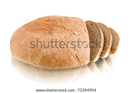 loaf of bread isolated on white with reflection