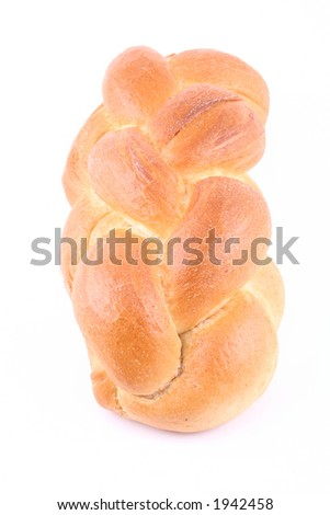 loaf of challah bread isolated on white