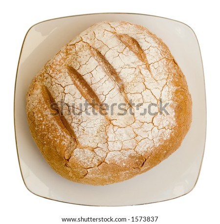 Loaf of Sheepherded Bread on Plate; Isolated, Path included