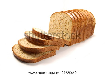 Loaf of sliced bread isolated on a white background