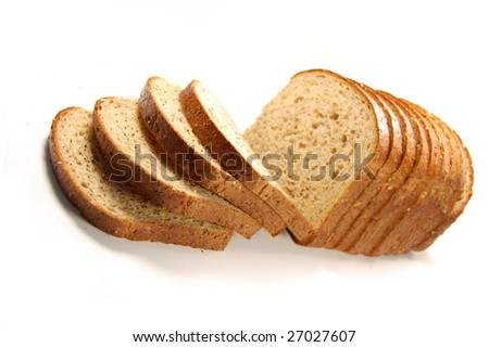 Loaf of sliced bread isolated on white