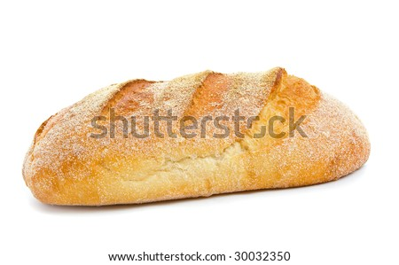 Loaf of sour dough bread isolated over white background.