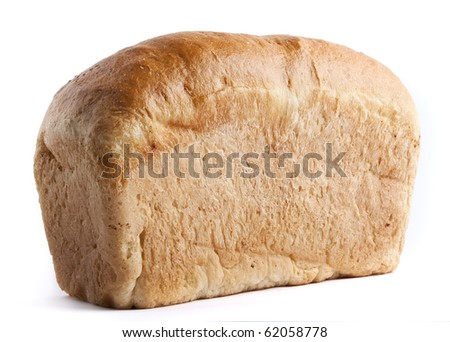 Loaf of whole fresh bread, isolated on white background