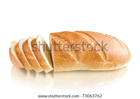 loaf sliced with reflection isolated on white