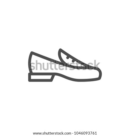 Loafer shoe line icon isolated on white