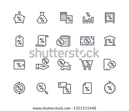 Loan line icons. Money rate payment discount, real estate car and purchases loan. Pay rate and money calculating pictograms